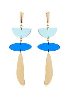 ISABEL MARANT Plexiglas Earrings, Blue/Gold. #isabelmarant #earrings
