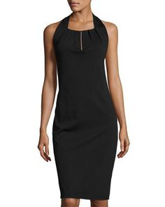 Sleeveless Pleated-Neck Sheath Dress, Black