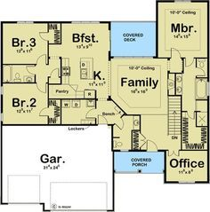 Craftsman, Floor Master Suite, Butler Walk-in Pantry, Den-Office-Library-Study, Split Bedrooms.need to rework the bath and hallway? Ranch House Plans, Craftsman House Plans, New House Plans, Dream House Plans, Small House Plans, House Floor Plans, My Dream Home, Craftsman Style, Dream Big