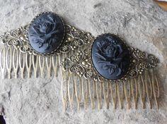 Pair of Black Rose Cameo Bronze Filigree Hair by THEPROUDBUFFALO