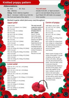 Image result for knitted remembrance poppies Knitted Poppy Free Pattern, Knitted Flower Pattern, Knitted Poppies, Crochet Poppy, Baby Cardigan Knitting Pattern, Fair Isle Knitting Patterns, Poppy Pattern, Knitted Flowers, Christmas Knitting Patterns