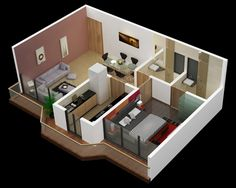 A simple one bedroom design keeps the living area separate from the bedroom for maximum sound insulation.
