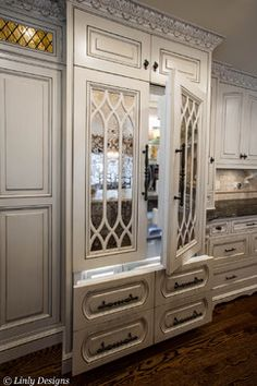 Love The Mirrored Cabinet Doors For The Fridg! Complete Kitchen Remodel    Houzz