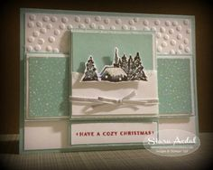 Stampin Up 2015 Holiday Catalog stamp set card: Cozy Christmas stamp set, Home for christmas DSP
