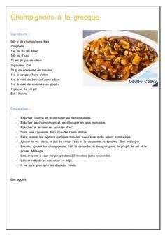 Champignons à la grecque - Doulou Cooky