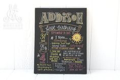"16""x20"" canvas, The Original Favorite Things Poster, first birthday chalkboard, custom ink drawing [style ""Addison""]"