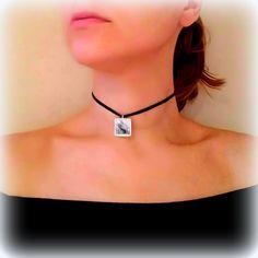 Black Choker Necklace, Unique Necklaces for Women, Velvet Choker, Pendant Necklace, Resin Jewelry, Gifts for Her, Wearable Art, ARTBYSANDRAV by ARTBYSANDRAV on Etsy