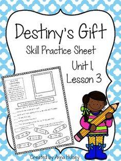 Skill practice (or homework) sheet for Journeys Third Grade: Destiny's Gift (Unit 1, Lesson 3)