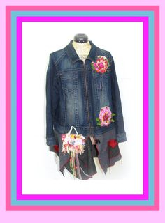 One of a Kind Reconstructed Jean Jacket Coat by JacketsbyJahne, $98.00
