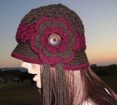 Flapper Cloche  Crochet Hat  Vintage Button  by Guerillagranny, $18.00
