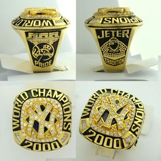 #Byer REPLICA GOLD PLATED 2000 NEW YORK YANKEES CHAMPIONS WORLD SERIES CHAMPIONSHIP RING World Series Rings, Bears Football, Championship Rings, Chicago Bears, New York Yankees, Gold, Yellow