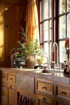 Natural Sunlight Kitchen | Wooden Cabinetry | Farm Sink photo courtesy of A Room with a View Facebook page