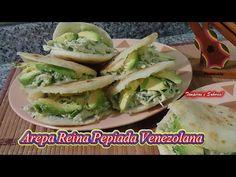 AREPA REINA PEPIADA super venezolana - YouTube Quesadilla, Omelette, Crepes, Fresh Rolls, Waffles, Appetizers, Menu, Chicken, Ethnic Recipes
