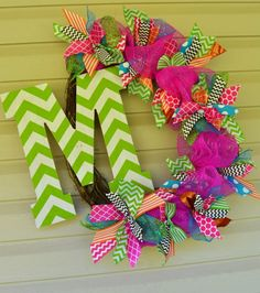 Funky chevron wreath, can be ordered via my Facebook page!