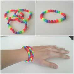 Easy beaded rainbow bracelet.