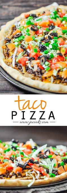 Taco Pizza at home, no more take out, and it's much better. Fresh and healthy ingredients result into one amazingly delicious taco pizza. Taco Pizza Recipes, Mexican Food Recipes, Beef Recipes, Cooking Recipes, Mexican Dishes, Sandwich Recipes, Dip Recipes, Yummy Recipes, Salads