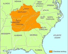 The map shows where most Cherokee indians were distributed.