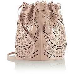 Alaïa Laser-cut studded leather shoulder bag (10,805 SAR) ❤ liked on Polyvore featuring bags, handbags, shoulder bags, purses, torbe, bolsas, handbags & purses, leather purse, leather crossbody purse and leather shoulder handbags