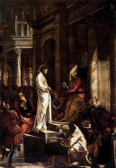 "artist-tintoretto:  "" Christ before Pilate by Tintoretto  Size: 380x515 cm  Medium: oil, canvas"""