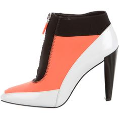 Kenzo Neoprene Colorblock Ankle Boots (3.900.575 VND) ❤ liked on Polyvore featuring shoes, boots, ankle booties, orange, block-heel ankle boots, zip ankle boots, block heel bootie, orange boots and block heel boots