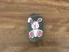 Easter bunny painted rock painted by flea #Easterbunny #paintedrock