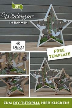 DIY Christmas decoration: wintry forest landscape in a wooden star frame for DIY . DIY Christmas decoration: wintry forest landscape in a wooden star frame to make yourself! Christmas Crafts To Sell, Christmas Star, Rustic Christmas, Simple Christmas, Christmas Wreaths, Christmas Decorations, Xmas, Easy Diy Crafts, Diy Crafts To Sell