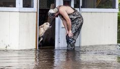 Dog Refuses To Leave The Side Of Man Who Saved Him From Flood: