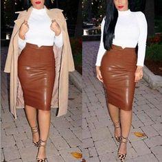 Sexy-Women-Winter-Plain-PU-Leather-High-Waist-Stretch-Pencil-Bodycon-Midi-Skirt
