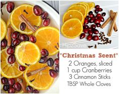 Christmas Stovetop Scent - The idea is to bring to a boil cups of water along with fresh fruit, fresh herbs, and extracts. Then simmer on low and your home will start to smell amazing. You can also do these in a slow cooker. Homemade Potpourri, Potpourri Recipes, Stove Top Potpourri, Simmering Potpourri, House Smell Good, House Smells, Fresh Herbs, Fresh Fruit, Christmas Scents
