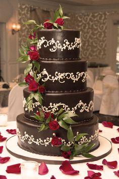 Shelby's wedding cake - german chocolate cake red roses - #weddingcake ideas