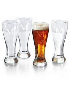 These monogrammed glasses are perfectly set off by their hourglass shape and elegant engraved block initial (A-Z).