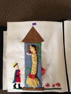 Braid Rapunzel's hair... Spare hair ties in pocket behind the tower.