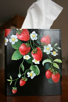 Red cardinal and strawberries on black back ground hand painted tissue box. Acrylic painting by sherrylpaintz