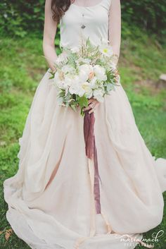Spring bridal bouquet with white peonies and ferns with dark wine ribbon tails.  Design by Love 'n Fresh Flowers.  Photo by Maria Mack Photography.  Kensington Gown from Lovely Bride.