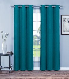 "Warm Home Designs 1 Pair of 38"" Dark Teal Blue Insulated Thermal Blackout Energy Efficient Curtains"