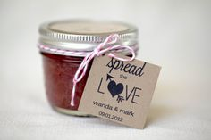 What a great idea!! Every guest in my wedding will get one on his plate..I just LOVE it!!    2 Dollar Shipping  Spread The Love  favor jam jelly by VanillaSkys, $14.00