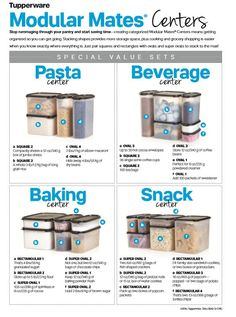 Modular Mates by Tupperware has everything you need to storage all snacks, baking, pasta, and more. Click through and buy one or all the sets. Tupperware Storage, Tupperware Organizing, Tupperware Recipes, Tupperware Bowls, Microwave Recipes, Tupperware Pressure Cooker, Tupperware Consultant, Kitchen Hacks, Kitchen Ideas