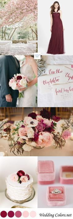 Marsala & Blush Wedding Spring Palette. Love this and it includes Cherry Blossoms! Too bad I'm not having a spring wedding but perhaps I can still use the colours -cherry blossoms....