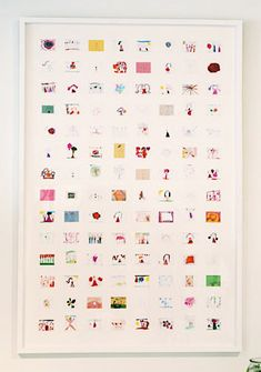 Idea for kids' artwork - saw this on Home by Novogratz by interior designer Jan Eleni. Take photos or scan artwork and then shrink them down and create a collage.