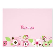 Butterfly Flower Garden Thank You Note Cards Personalized Announcements