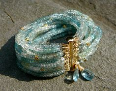 Aquamarine Bracelet Gemstone Bracelet Gemstone Cuff Vermeil
