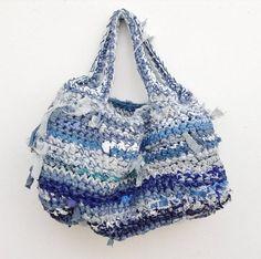 Hippe Handmade  duurzame  gehaakte Boho tas van recyclede