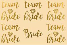 Team Bride Gold or Silver Bachelorette Temporary by NeonGear