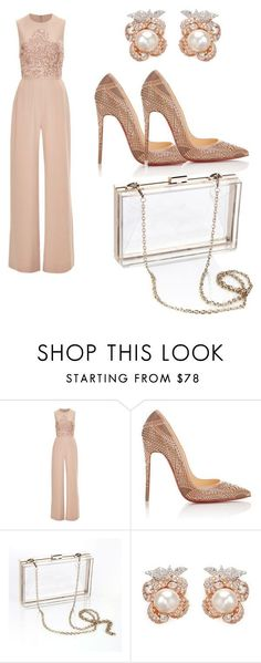 Untitled #177 by nadiatabaki ❤ liked on Polyvore featuring Elie Saab, Christian Louboutin, Posh Girl and Anabela Chan