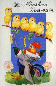 Hauskaa pääsiäistä #pääsiäinen #easter #kortit #cards #tiput #kukot