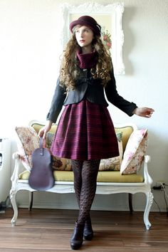 I took a lot of outfit pictures in early October~ Dress: Thrifted Jacket: Innocent World Bag: Jane Marple Hat: Axes Femme Boots: Sperry Top-Sider