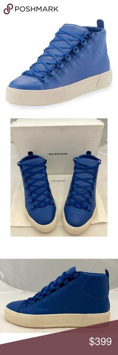 New Balenciaga Arena High Tops Blue Leather Authentic Balenciaga Arena High Tops New with box and dust bag  Blue grained leather Rubber sole Log at heel Lace up Size 42 US 9, 43 US 10, 44 US 11 Balenciaga Shoes Sneakers
