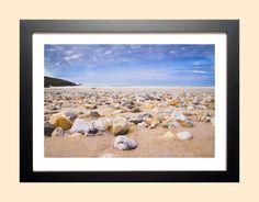 "Original photo print. Pebbles Art, Cornwall Print, Beach Print, Surfer Art, Pebbles Print, 'Pebble beach"" Fistral, Newquay Cornwall by AmbiancePhotography on Etsy Pebble Beach, Pebble Art, Newquay Cornwall, Beach Gifts, Beach Print, Beach Photography, Photographic Prints, Original Image, Framed Art"
