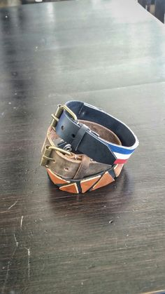 Leather bracelets #leather #bracelet #blue #white #red #handmade