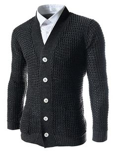 (FFC04-CHARCOAL) Slim Fit 5 Button Knitted Cardigan